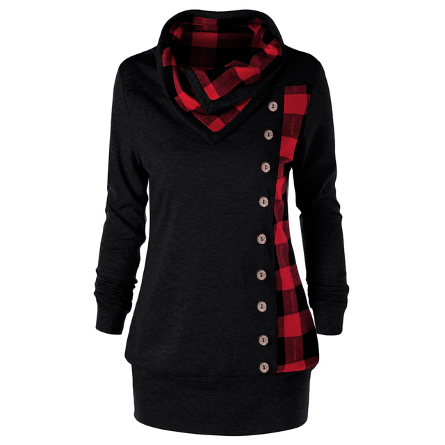 Wipalo Plus Size Women Sweatshirt Plaid Buttons Cowl Neck Long Sleeve Hoodies Sweatshirts Casual Long Ladies Tops Pullover 5XL