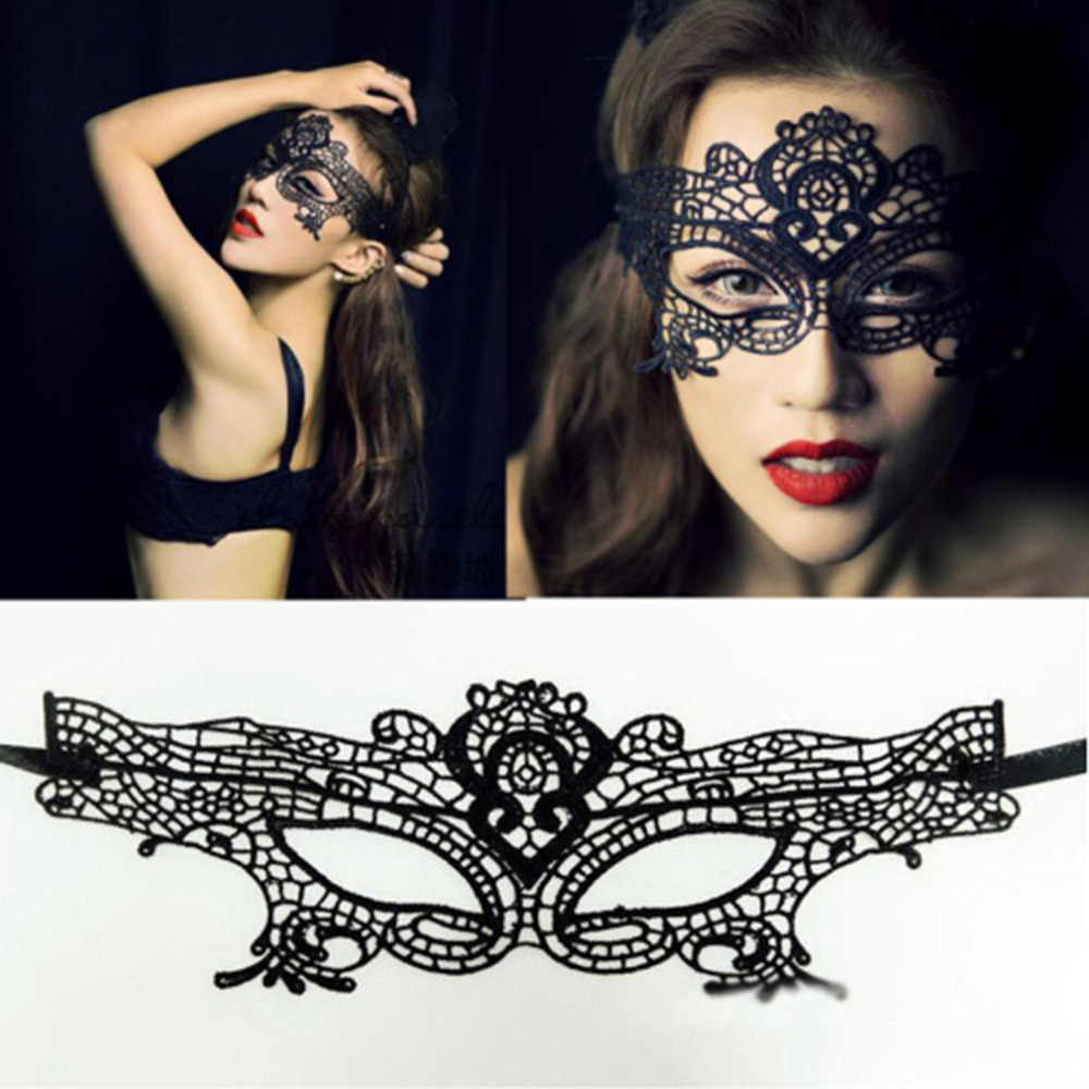 1 pcs Kant masker Sexy Lady Black Lace Mask hollow out Catwoman Batman sluier Halloween Maskerade