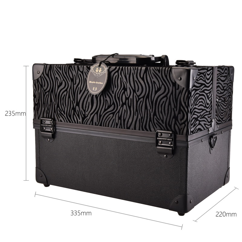 Leopard checks leaves ABS&PU Make up Box Makeup Case Beauty Case Cosmetic Bag Multi Tiers Lockable Jewelry Box