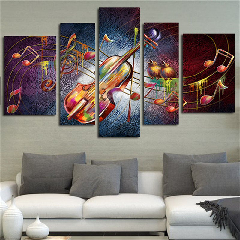 5 planes violin picture wall art canvas painting guitar music home decor posters prints art. Black Bedroom Furniture Sets. Home Design Ideas