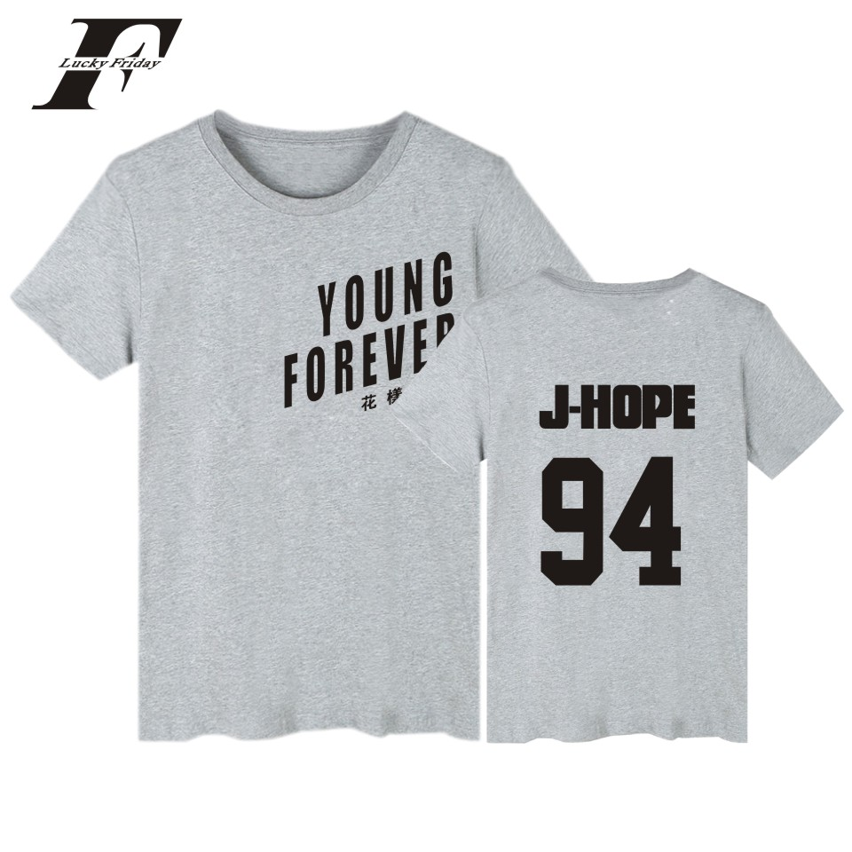 LUCKYFRIDAYF BTS Young Forever Tshirt Women Basic Tops Summer Short Sleeve Tee Shirt Women Bangtan Boys Gray Cotton T-shirt XXS