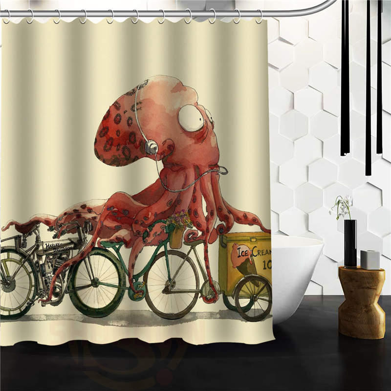 AQQ Vintage Octopus Custom Shower Curtain 66 x72 Waterproof Fabric Shower Curtain for Bathroom