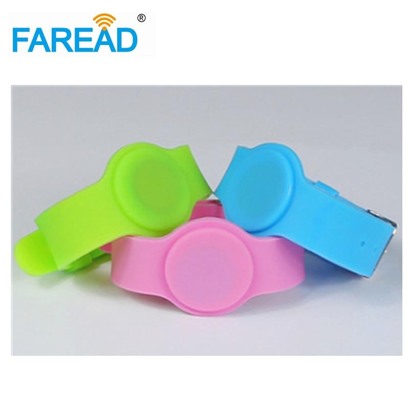 X100pcs Free Shipping  RFID Wristband  For Swimming Pool Sauna Room GYM 13.56mhz Ntag203