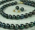 ddh00312 8-9mm Black Natural Pearl Necklaces Bracelets Earrings Set