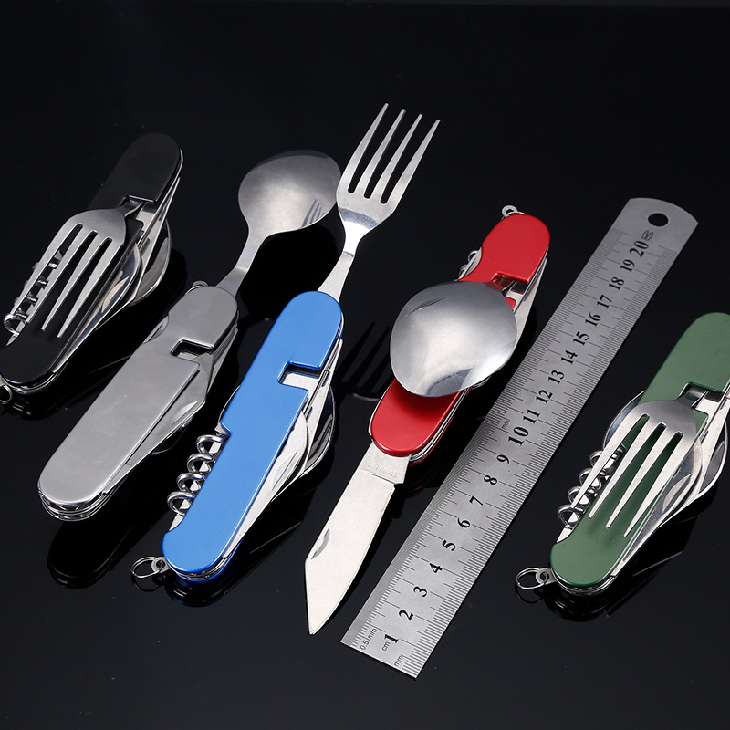 Campcookingsupplies Sports & Entertainment Clever Multi Camping Spoon Knife Fork Stainless Steel Outdoor Tableware Set To Have A Unique National Style