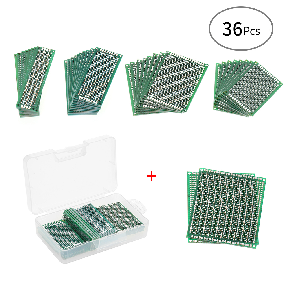 36pcs Double Sided Pcb Board Universal Printed Circuit Protoboard Oz Aerosol Can Electronics Components Boards With Transparent Case For Diy Soldering And Electronic Project In Instrument Parts