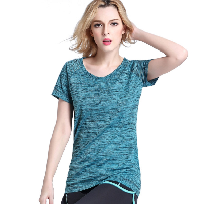 CHARMING&DREAM Summer Female Yoga Shirts Quick Dry Gym Fitness T-shirt Short Sleeve Running Training Sports Shirt Stretch Tops