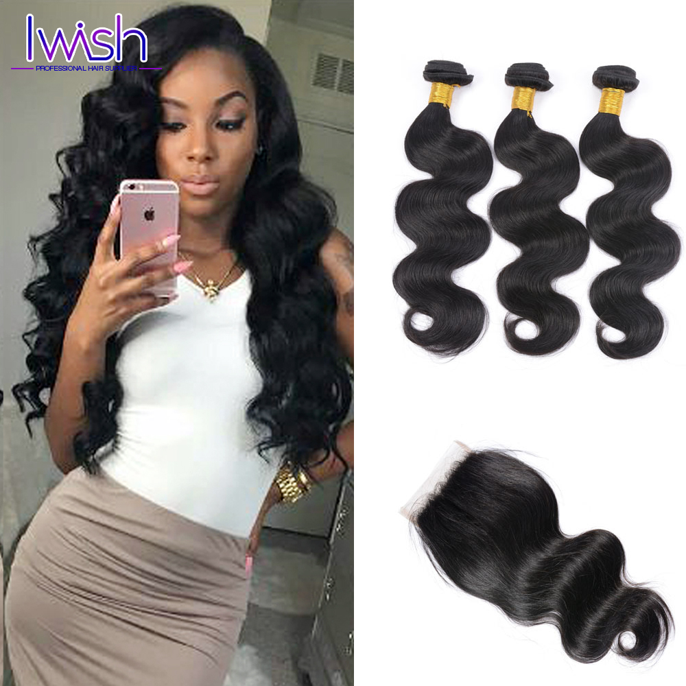 Brazilian Body Wave 3 Bundles With Closure Iwish Brazilian Body Wave With Closure Brazillian Human Hair Weave With Closure