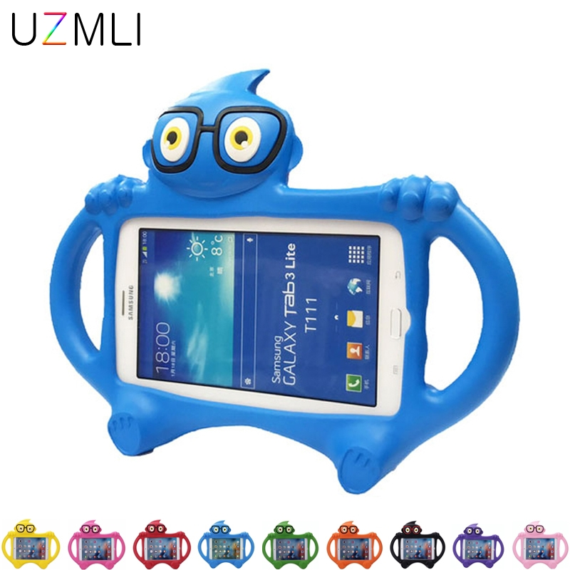 New Glasses Kids Case For Samsung Galaxy Tab 3 Lite T110 T111/Tab 4 7.0 T230 T231 Cartoon EVA Desk Stand Holder Back Cover