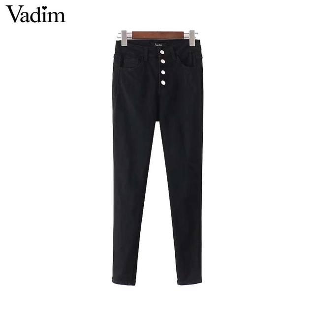 Vadim mujeres negro básico Denim jeans alta cintura botón Fly tobillo longitud lápiz pantalones regulares de marca pantalones KZ1196