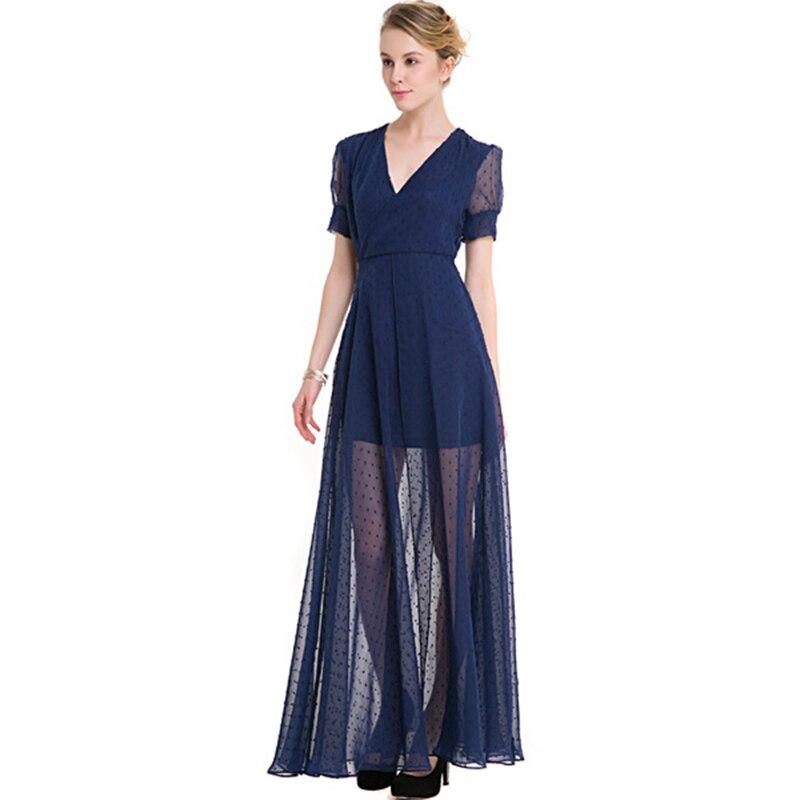 Высокое качество женское платье 2018 v-образный вырез короткое на заказ цвет большой качели Сплит Ретро Точка шифоновое платье SS1