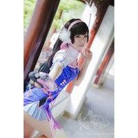 OW DVA Chinese Cheongsam Cosplay Costume Stage Dress Halloween Uniform