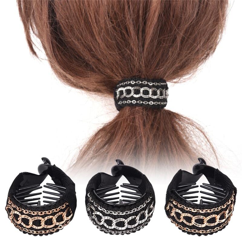 Fashionable Women Gold Pink Black Chain Hair Clip Barrette Ponytail Holder