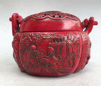 China's ancient incense burner of artificial red resin pure manual sculpture