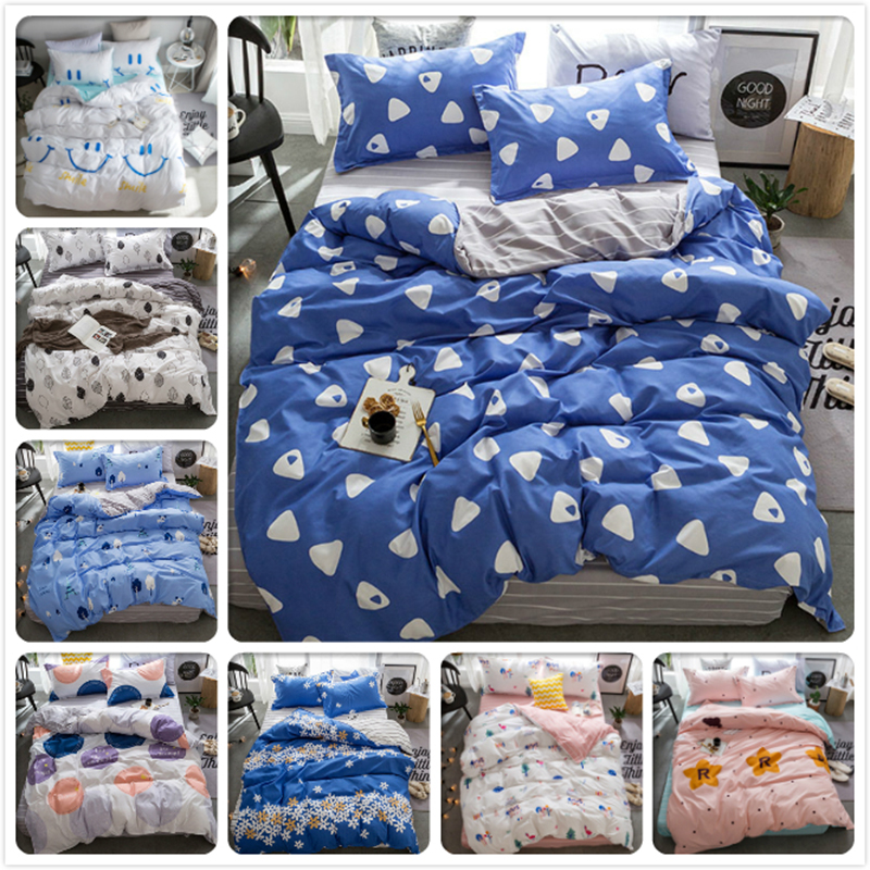 Blue Grey AB Side Duvet Cover 3/4 pcs Bedding Set Child Kids Soft Cotton Bed Linens Single Twin Full King Queen Size Bedspreads