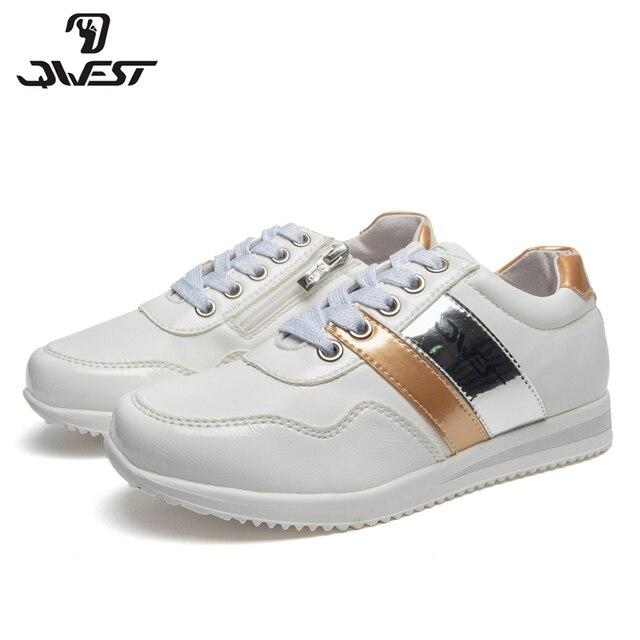 Кроссовки QWEST для девочек 91P-XY-1167, вид застежки – молния/шнурки, кожаная стелька,  для прогулки и отдыха, размер 31-36. Модная, стильная модель.