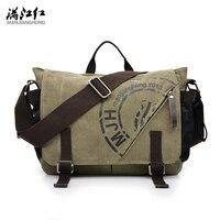 MANJIANGHONG Canvas Men Bags 2018 Korean Multi functional Canvas Business Men Canvas Shoulder Bag Fashion Leisure Messenger Bag