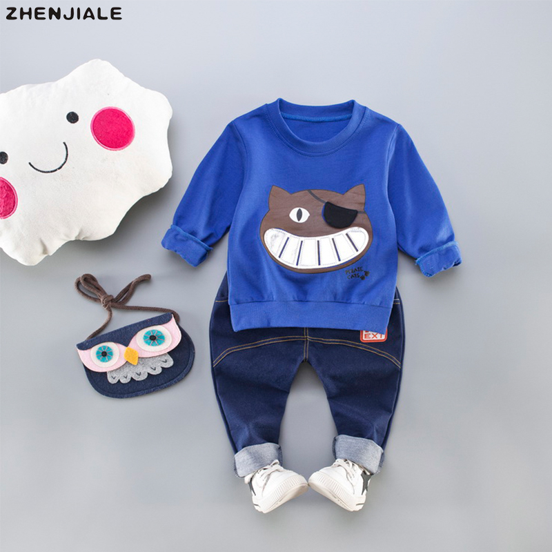 Children Clothing Sets 2018 new fashion keep warm comfortable cartoon cat customer Spring Cotton clothes boys clothes suits A-42