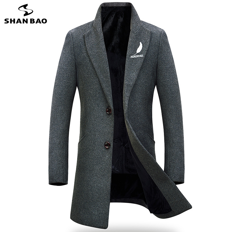 2018 winter plus velvet thickening new style lapel Slim coat coat feather embroidery men's business casual wool coat jacket