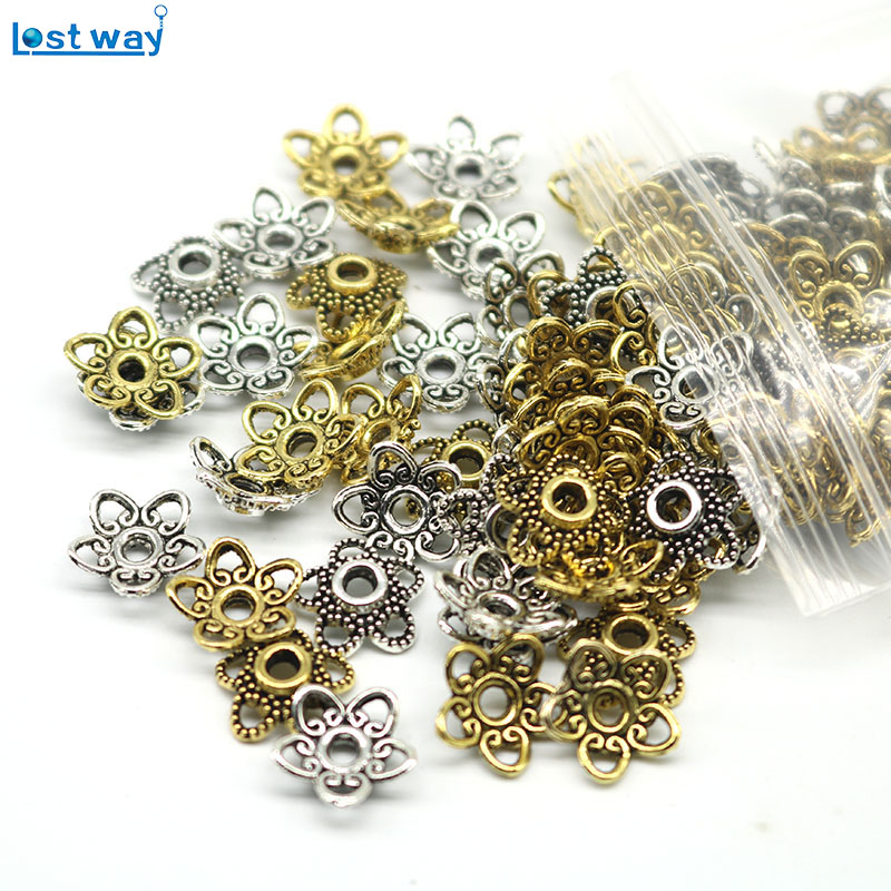 все цены на LOST WAY 10mm 100pcs/lot Wholesale Metal Bead Caps Silver Plated Flower Beads End Caps Charms For Jewelry Findings hole is 2mm онлайн