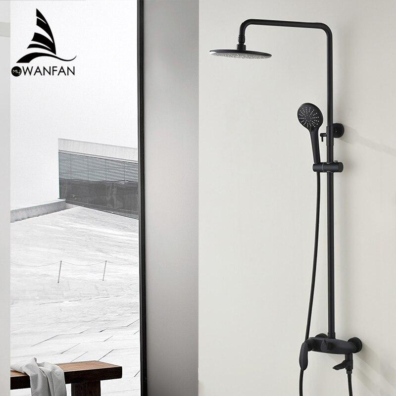 Torneira do chuveiro de bronze preto fixado na parede torneira da banheira chuva cabeça chuveiro quadrado handheld slid bar banheiro misturadora conjunto 877525r