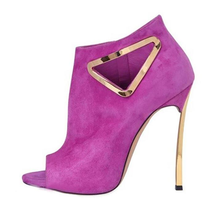 Stylish 120mm Blade Triangle Ankle Boots For Women Cut Out Pink Black Suede Boots Peep Toe Side Zipper Gold-tone Hardware BootieStylish 120mm Blade Triangle Ankle Boots For Women Cut Out Pink Black Suede Boots Peep Toe Side Zipper Gold-tone Hardware Bootie