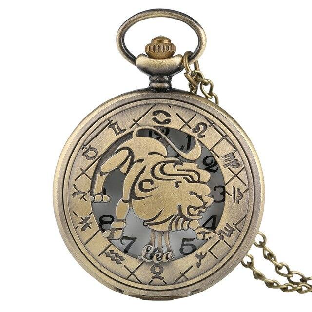Bronze Constellations Copper Leo Quartz Pocket Watch Chain Necklace Fashion Women Men Modern Fob Watches Best Birthday Gift