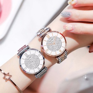 Image 4 - ホット販売女性ステンレス鋼完全なダイヤモンドの腕時計カジュアル高級レディースクォーツ時計 YOLAKO 時計レロジオ Feminino