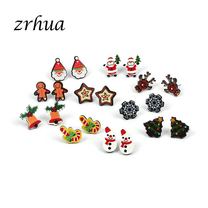 ZRHUA New Fashion Women Snowman lovely Christmas Halloween Stud Earrings For Women Girls Fashion Jewelry Cute Girls Accessories