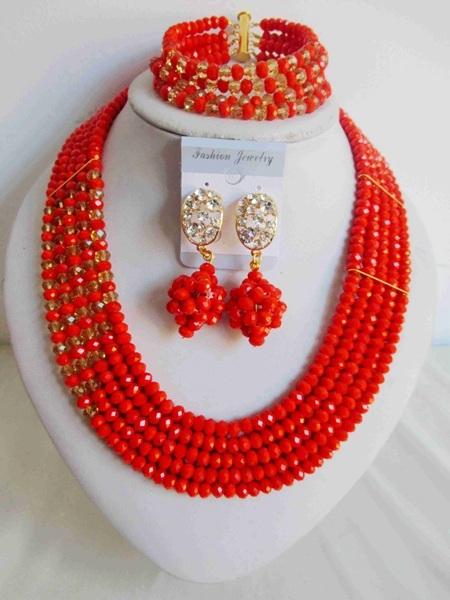 Nueva Llegado! Coral Color Oro Champán Cristal Nigeriano Boda perlas Africanas joyería conjunto Tradicional Envío Libre NAF167
