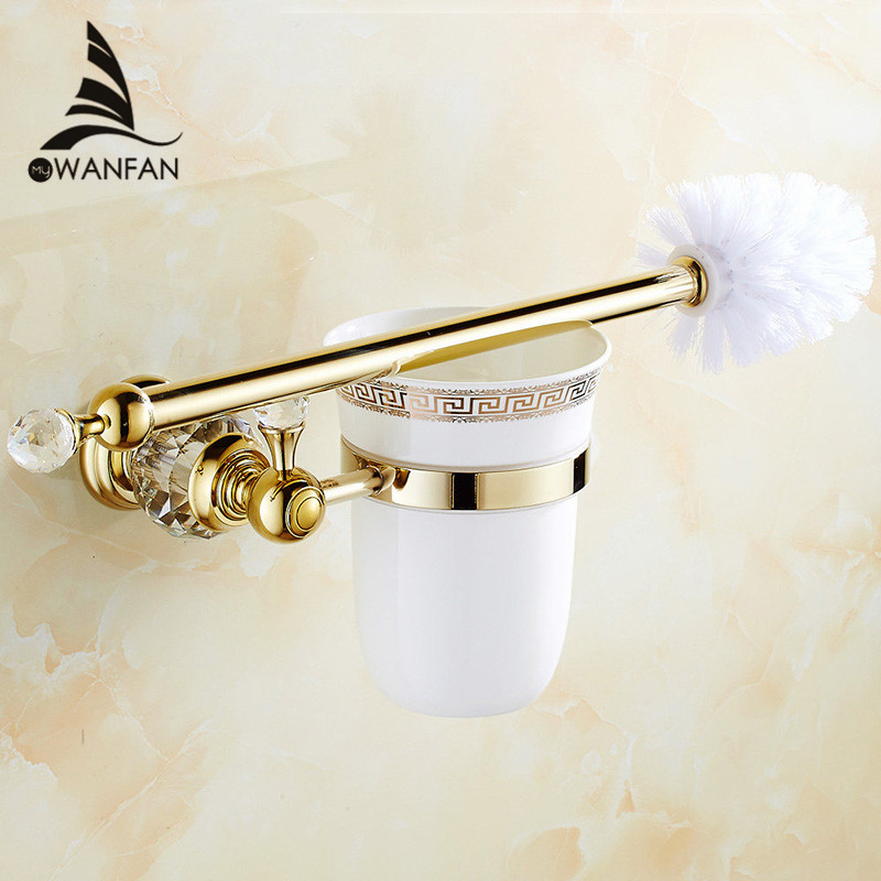 European style Brass Crystal Toilet Brush Holder,Gold Plated Toilet brush Bathroom Products Bathroom <font><b>Accessories</b></font> useful HK-44