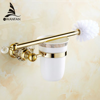 Free Shipping Brass Crystal Toilet Brush Holder Gold Plated Toilet Brush Bathroom Products Bathroom Accessories HK