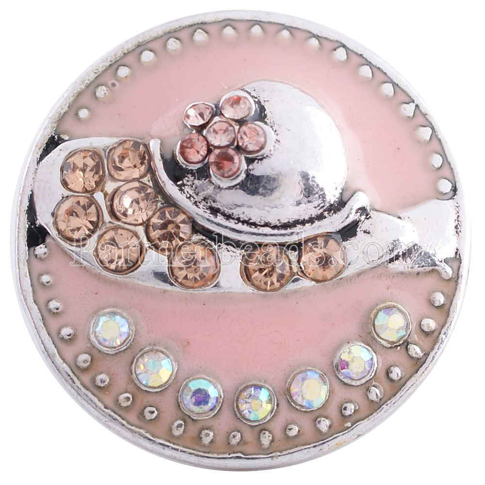 New mothers day gift pink Enamel shose snaps button jewelry rhinestone metal Snap Button ...