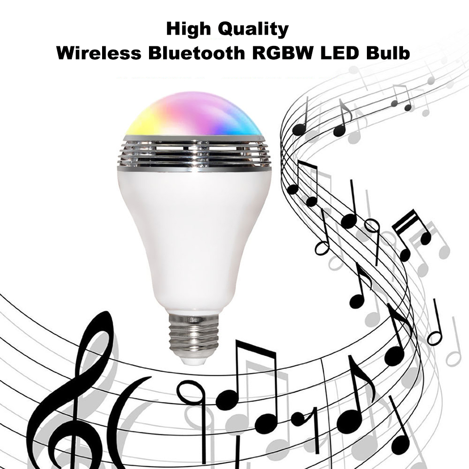 E27 10W bluetooth app control speaker bulb lamp high quality RGBW E27 bulb with bluetooth speaker music playing colorful bulb