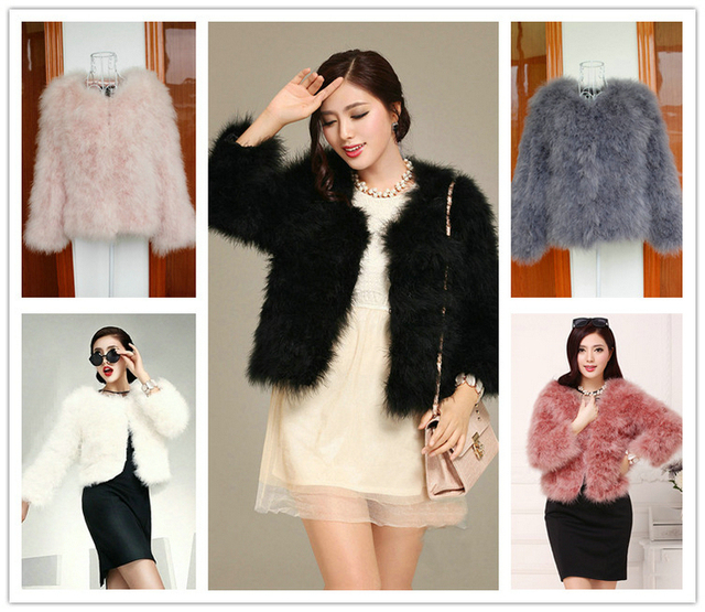 075948c9ca Women s Winter Warm GREY BLACK WHITE PINK RED Real Ostrich Feather Fur  Turkey Fur Short Tops Coats Jackets US 4-14 PC0088
