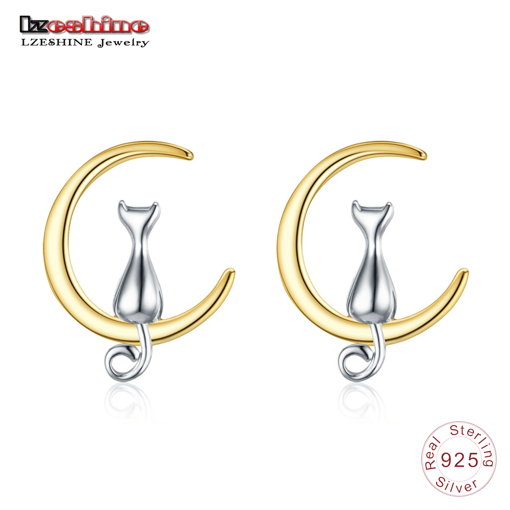LZESHINE New Design 100% 925 Sterling Silver Earrings Moon and Cat Earring Stud Romantic Jewelry Gift for Women T020353-B