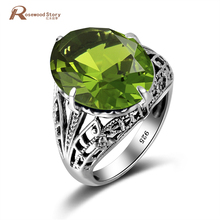Wholesale 925 Sterling Silver 2.1ct Green Created Peridot July Birthstone Anniversary Ring Fashion Gift For Women Fine Jewelry