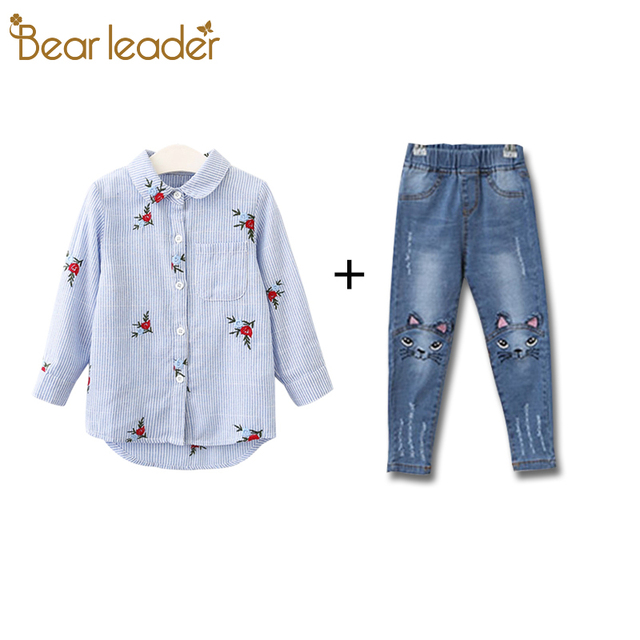 Bear Leader Girls Shirts 2018 New Spring Brand Baby Girls Blouse Red Flowers Embroidery Strip Kids Shirts Children Clothing
