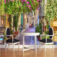 Photo Wallpaper Custom 3D Continental Streetscape Sofa Wall Paper Flowers Landscape Extends Bedroom Space Wall Mural