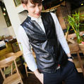 2014 Men'S Pu Leather Waistcoat Male Casual Black Slim Fit Single Breasted Sleeveless Jacket/ Short Vest Free Shipping Q432