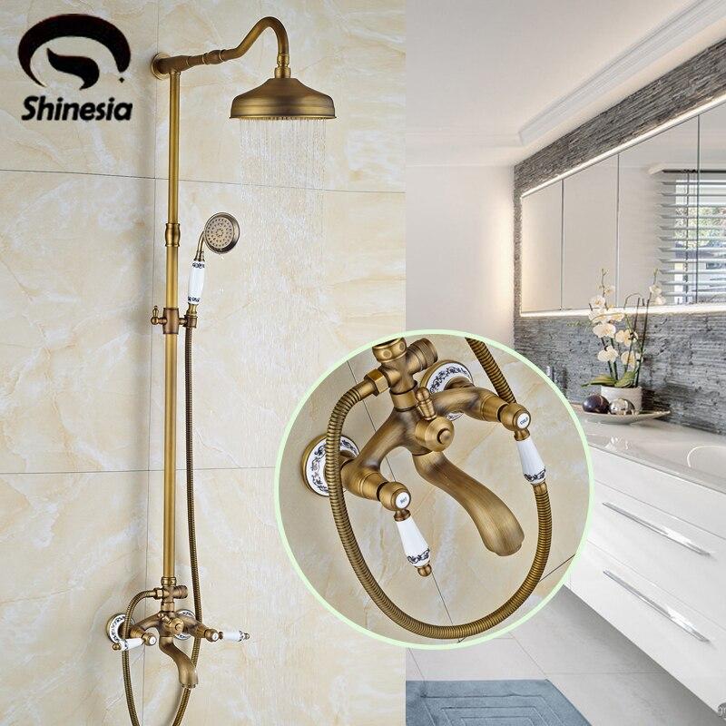 Antique Brass Bathroom Shower Set Faucet with Hand Sprayer Dual Handles Bathtub Mixer Tap dual cross handles antique brass bathroom tub faucet with hand held shower sprayer