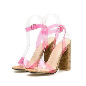 Image 2 - Kcenid Candy colors sexy PVC new womens sandals open toe pumps womens summer shoes wood high heels ankle strap sandals green