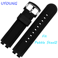 22 mm black silicone wrapped stainless steel strap waterproof Pebble Steel 2 smart wristwatch