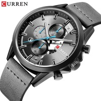 Top Brand Luxury CURREN Men Watch Classic Black Wristwatch With Leather Strap Casual Chronograph Waterproof Male Clock relogio