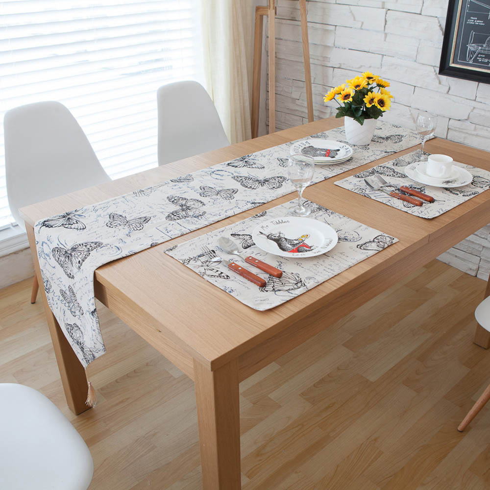 1PC Black Butterfly Modern Style Rectangle Home Dining  : 1PC Black Butterfly Modern Style Rectangle Home Dining Table Runners Linen Cotton Hotel Coffee Table Runner from www.aliexpress.com size 1000 x 1000 jpeg 143kB