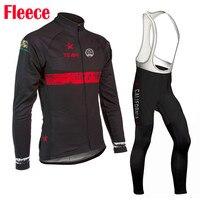 Bán buôn người đàn ông dài tay Màu Đen xe đạp Jersey Sets quần áo MTB top Bike bib quần Cổ Điển quần áo mặc Lông Cừu & không có lông cừu