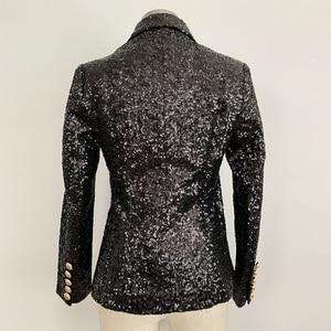 Image 3 - Alta calle elegante 2020 chaqueta Runway mujer doble botonadura Metal botones de León lentejuelas brillante chaqueta