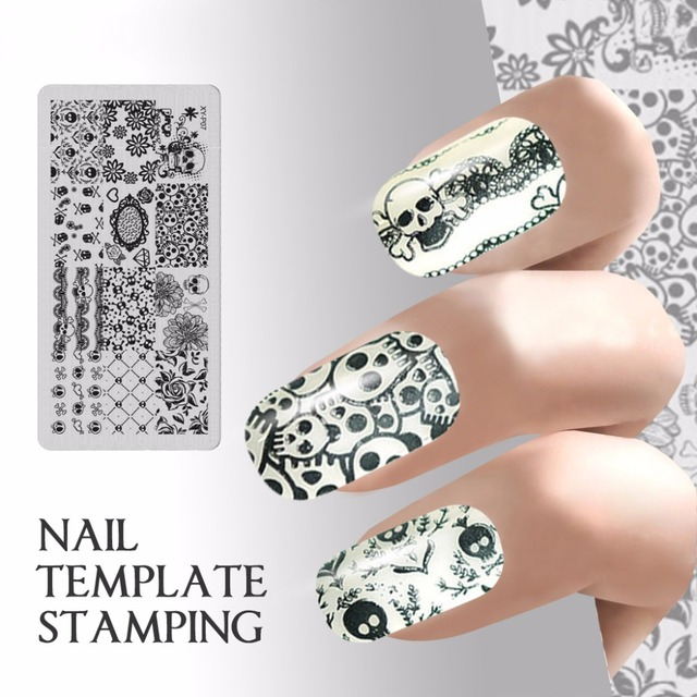 quadrate nail template stamping halloween nails stamp plate skull flower image plate template stencil manicure decals