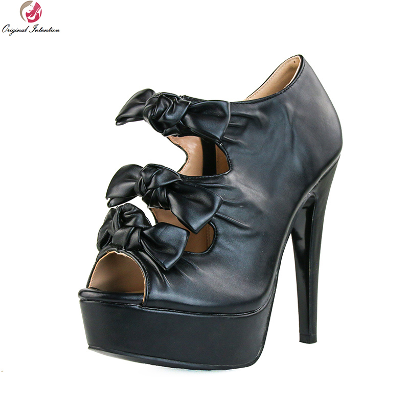 Original Intention Fashion Women Sandals Classics Peep Toe Beautiful Thin High Heels Sexy Black Shoes Woman Plus US Size 4-15 hot selling sexy sloid thin heels sandals woman new desig lace red white black sandals peep toe elegant for women free sipping
