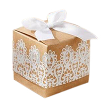 Practical Boutique 50 Kraft Paper Candy Box with white lace design wedding souvenirs party